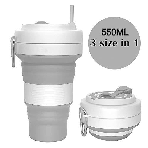 Silikon Becher Kaffee Faltbare Tasse Mit Deckel Kaffeetasse to Go Reisebecher Kaffeebecher Thermo Auslaufsicher (Grau)