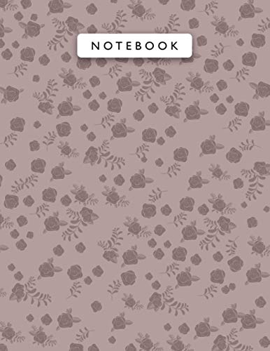 Notebook Rosy Brown Color Mini Vintage Rose Flowers Patterns Cover Lined Journal: A4, Wedding, Monthly, 21.59 x 27.94 cm, Work L