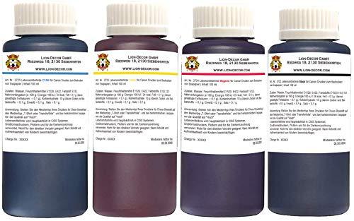 Inchiostro alimentare 4x100ml (nero, giallo, rosso, blu) per cartucce per stampanti Canon
