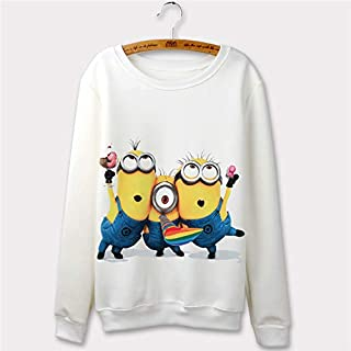 Casual Banana Minions Despicable Me 2 Print 3D Cartoon Design Sweatshirt Women Hoodies O-Neck White