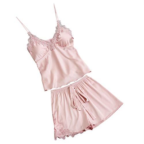 Proumy Pijama Verano Mujer Dos Piezas Camisola de Encaje Sexy Bata de Seda con Flores Conjunto de Ropa de Dormir con Calzoncillo Chaleco Cuello V de Tiras Ajustable Vestido Interior de Cama Rosa