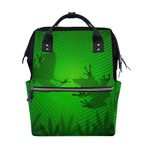 Frog Shadow Banana Leaf Multi-Function Diaper Bags Backpack Travel Bag
