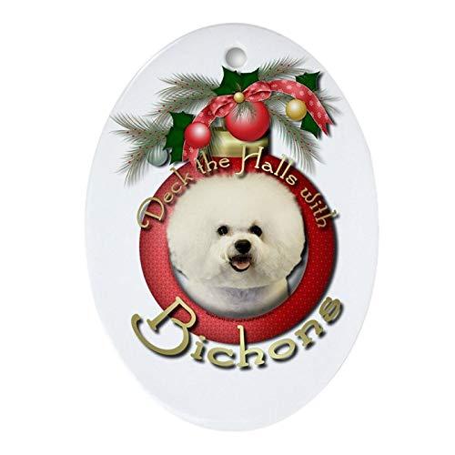 Tiukiu Keramik-Ornament für Weihnachtsbaum, Weihnachten – Deck The Halls – Bichons Andenken (Ova