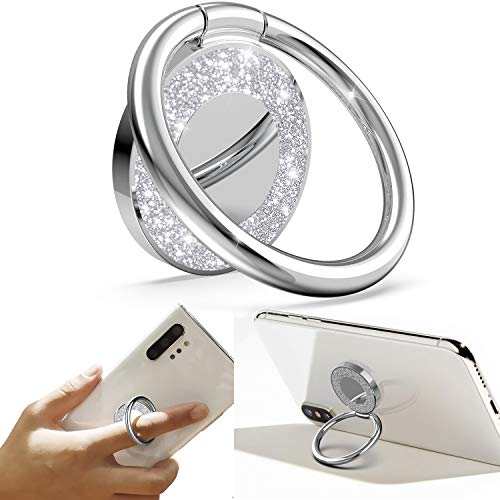 Allengel Cell Phone Ring Holder, 360 Rotation Glitter Metal Finger Ring Grip Kickstand, for Magnetic Car Mount Compatible with All Smartphone/Phone Cases - Silver