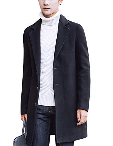 Springrain Men's Notched Lapel Single breasted Long Pea Coat Trench Coat (Black, Medium)