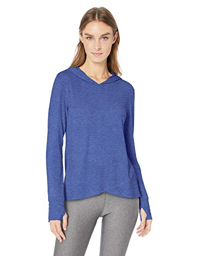Amazon Essentials Studio Long-Sleeve Cross-Front Hoodie Athletic, Bright Blue Heather, US M (EU M - L)