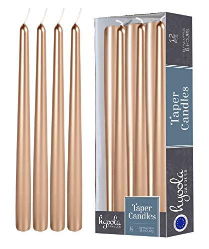 Hyoola Metallische Spitzkerzen, 25,4 cm, kupferfarben, tropffrei, geruchlos, Paraffinwachs mit Baumwolldocht, 12 Stück