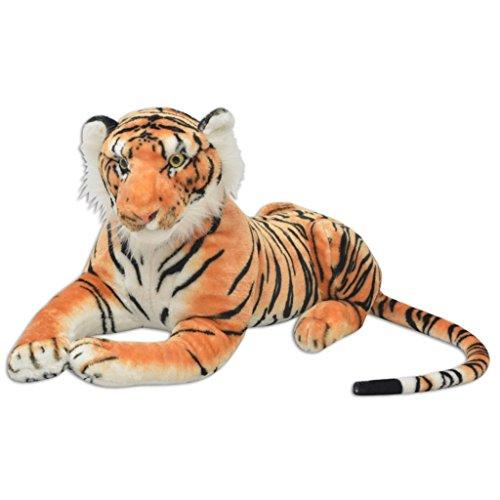 Festnight Tigre de Peluche - Color de Marrón con Rayas de Tigre Mater
