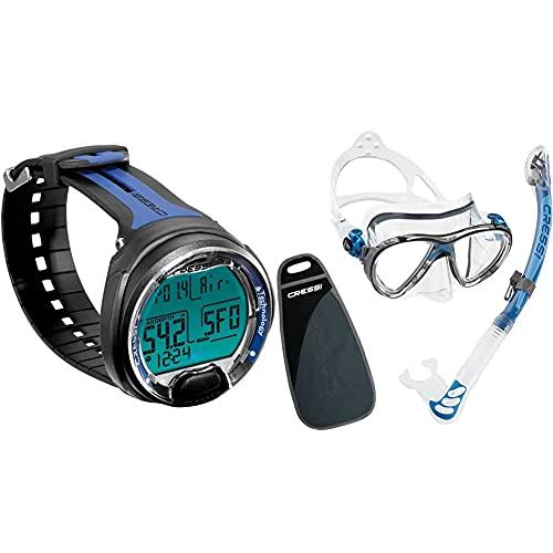 Cressi Leonardo Ordenador De Buceo, Adultos Unisex, Negro/Azul + Big Eyes Evolution & Alpha Ultra Dry Schnorchel Pack De Snorkel (Tubo Y Gafas), Color Azul