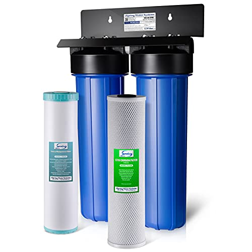 iSpring WGB22BM 2-Stage Whole House Water Filtration System with Carbon Block and Iron & Manganese Reducing Filters