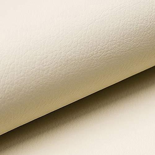 NOVELY® Soltau | 1 lfm | weiches Kunstleder PU Premium Qualität Polsterstoff mehr als 100.000 Touren Echtleder-Optik Möbelstoff (18 Ivory Beige)