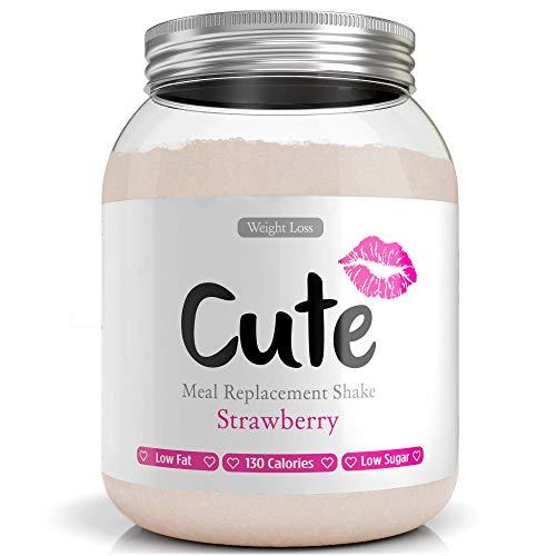 CUTE NUTRITION® Diät-Shake zum Abnehmen + Energy Boost | 500g | Mahlzeitenersatz Shake Erdbeere inkl. Trainingsplan | Protein-Pulver Low Carb | Eiweißpulver GVO-frei