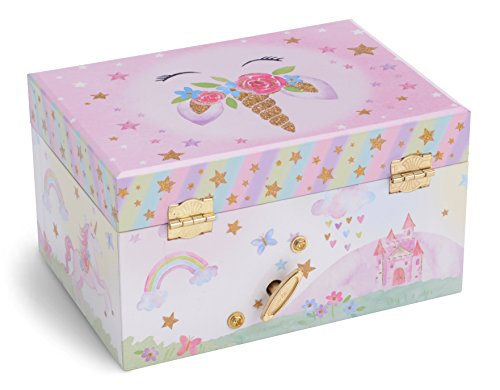 Jewelkeeper Girl's Musical Jewelry Storage Box with Spinning Unicorn, Glitter Rainbow and Stars Design, The Unicorn Tune 8