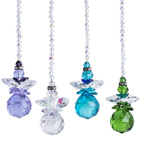 H&D HYALINE & DORA 4 Engel Kristall Ornament Aufhängen Regenbogen Sonnenfänger mit 20 mm Glas Kugelprisma für Fenster Dekor