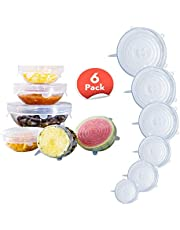 6-Pack of Food Storage Covers, Silicone Stretch Lids, LFGB standard and Expandable to Fit Various Shape of Containers, Dishes, Bowls, Safe in Dishwasher, Microwave and Freezer, smile pattern, Clear