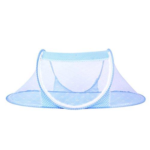 Tente Moustiquaire Pliant Lit Berceau Portable Multiusage Voyage pr Bébé 0-3 Ans Rose/Bleu - Bleu, 35*42.5cm