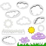 QUCUMER 10 Pcs Moldes de Nubes Sol Luna Redonda Hierba Cloud Cookie Cutter Cortadores de Fondant de Pastel Diy Decoración de Pasteles de Galletas Cortadores para Decoración de Tartas Fondant Galletas