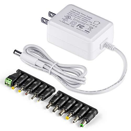 PryEU 12V 1.5A AC DC adaptador 18W fuente de alimentación con 12pcs conectores de enchufe de repuesto UL listados (sólo para dispositivos de 12 V)