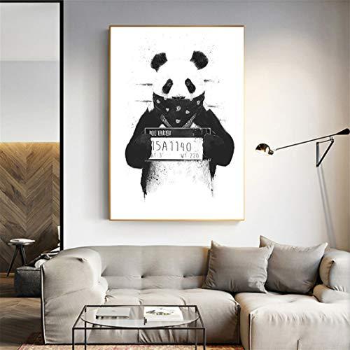 Danjiao Cuadro En Lienzo Panda'Necesito Color', Impresiones De Perro Blanco Y Negro Y Póster'Ser Normal Es Aburrido', Decoración Del Hogar Para Sala De Estar De Dibujos Animados Sala De Est 40x60cm
