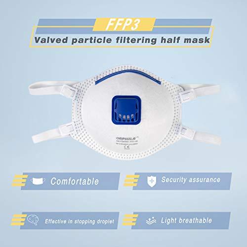 5 PCS ORPHILA Maske FFP3 mit Luftventil Komfort Dichtung Hälfte filtern Maske EN149:2001+A1:2009 Atemschutzmaske - 7