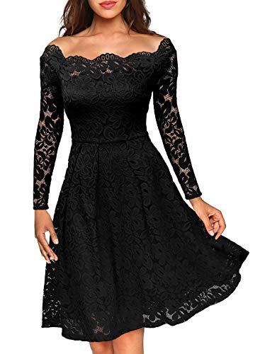 MIUSOL Damen Vintage 1950er Off Schulter Cocktailkleid Retro Spitzen Schwingen Pinup Rockabilly Kleid Schwarz XXL