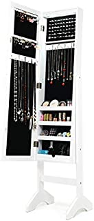 Taltintoo20 Modern LED Lights Mirrored Jewelry Storage Cabinet with Stand, Dimensions 14 x 13.5 x 60.5 inches, Weight 19.4 Pounds, Fits with Bedroom Decor, White