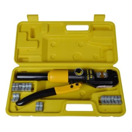 9 DIES 10-TON HYDRAULIC CRIMPING TOOL BATTERY CABLE LUG WIRE CRIMPER TERMINAL