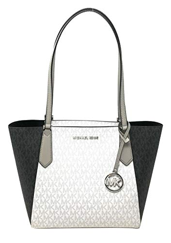 """Imported PVC Leather Silver Toned Hardware 1 MK Circle Charm Zip Top Closure 1 Slip-in Pockets 13""""(Top) 10""""(Bottom) x 10""""(H) x 5.5""""(D) Straps: 9"""""""
