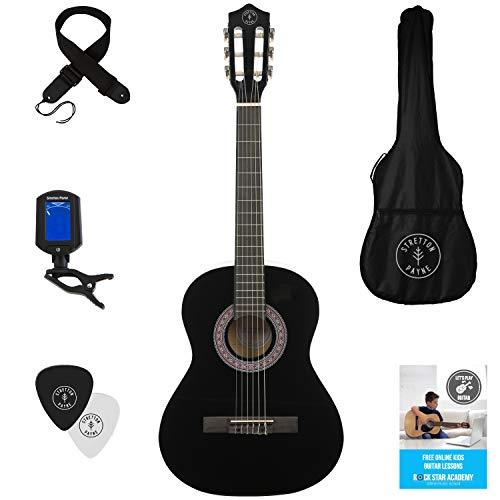 Juego de guitarra infantil clásica con cuerdas de nailon, para zurdos, tamaño 3/4 (91,44 cm), negra