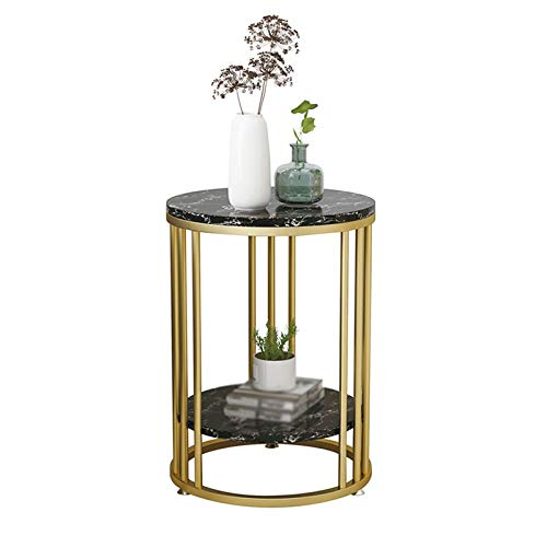 XZGang Living Room Side Table, Double Layer Marble Storage Table Home Office Reception Room Sofa Table Magazine Rack simple life (Color : C, Size : 40 * 40 * 55CM)