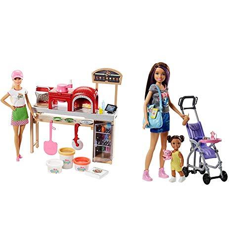 Barbie Quiero Ser Pizza Chef, muñeca y Accesorios de Juguete, Regalo para niñas y niños 3-9 años (Mattel FHR09) , Color/Modelo Surtido + Muñeca Skipper Hermana de Barbie, niñera de Paseo