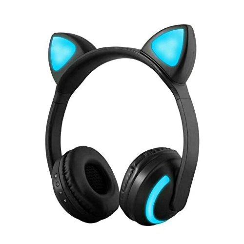 Docooler Drahtlose Bluetooth Headset Leuchtende Katze Ohr Kopfhörer Stereo Musik Kopfhörer Freisprecheinrichtung mit Mikrofon Bunte Licht Einstellbare Stirnband für Desktop-Laptop Tablet PC Smartphone