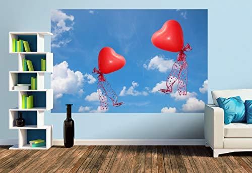 Premium Foto-Tapete Rote Luftballonherzen am Himmel (versch. Größen) (Size M | 279 x 186 cm) Design-Tapete, Wand-Tapete, Wand-Dekoration, Photo-Tapete, Markenqualität von ERFURT