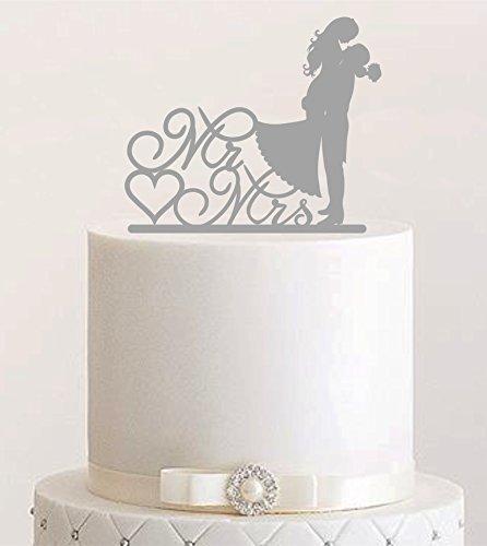 Cake Topper, beso, conector para tartas, Figura Decorativa para tarta acrílico, soporte para tarta Bodas de Etagere Tarta a macho gris