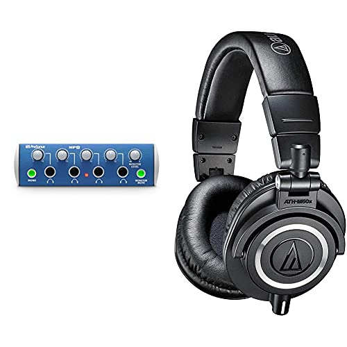 PreSonus HP4 4-Channel Compact Headphone Amplifier & Audio-Technica ATH-M50X Professional Studio Monitor Headphones, Black, Professional Grade, Critically Acclaimed, with Detachable Cable