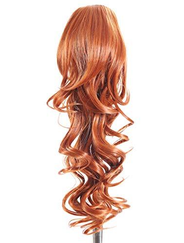 Prettyland - 60cm clip-in extension coda di cavallo treccia capelli ricci ondulati posticcio ispessimento estensione- R01 rosso