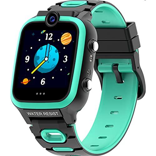 shjjyp Smartwatch Niios 4G Videollamada Con7 Juegos Smartwatch Niños Reloj Inteligente Niña Relojes Smart Realiza Llamadas Mensajes De Voz Reloj De Cámara Alarma Niños De 3 A 12 Años,Verde