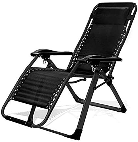 Patio Lounge Chairs Recliner Heavy Duty Folding Zero Chairs Beach Deck Chairs Sun Lounger Recliner For Beach Patio Garden Camping Outdoor Square Steel Legs (Color : Black2)