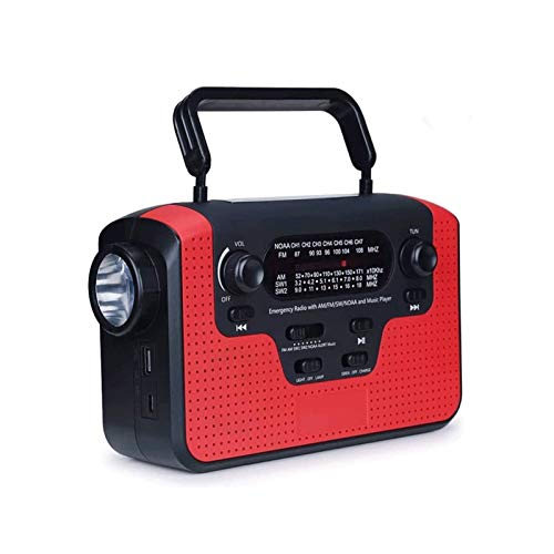 Sdesign Radio de Emergencia Solar de manivela de manivela con Linterna LED Am/FM Radio Teléfono Inteligente Cargador Power Bank