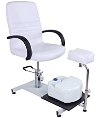 Fotvårdsstol, kosmetisk stol med fotstöd och svart bord