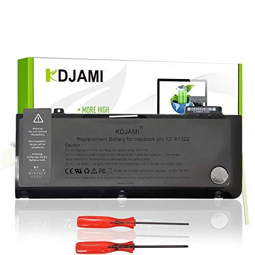 KDJAMI A1322 Batería para MacBook Pro de 13 Pulgadas A1278 (MID 2009 to Mid 2012) Compatible con Macbook Pro 13 MC375D/a, MB991LL/A Version 2009( 63,5 Wh/5800 mAh/10,95 V/Li-Polymère)