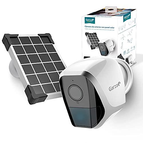 Garza ® Smarthome - Cámara De Vigilancia Exterior Inalamabrica Con Panel Solar Inteligente Wifi, HD (2K), Visión Nocturna, Detección De Movimiento, Audio Bidireccional, Control Remoto a través de app