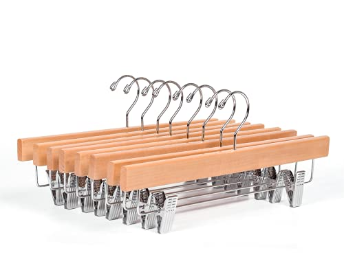 HUMIA Natural Wooden Pants Hangers 28 Pack, Solid Wood Skirt Bottom Hangers with 2 Adjustable Clips, 360° Chrome Hook (28)