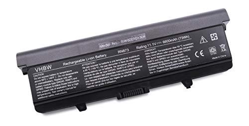 vhbw Batterie LI-ION 6600mAh 11.1V Noir Compatible pour Dell remplace GP952, 0GW252, GW252, RU586, 312-0625, 312-0626, 312-0634, 312-0633 etc.