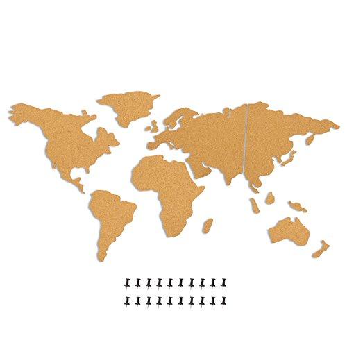 Tablón de anuncios de mapa del mundo con 20 chinchetas (15 piezas)