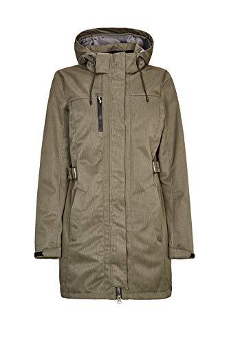 killtec Softshellparka Damen Laili - Damenjacke mit abzippbarer Kapuze - Damen Outdoorjacke mit Wassersäule 10.000 mm - Softshelljacke ist wasserabweisend, grün/anthrazit, 40