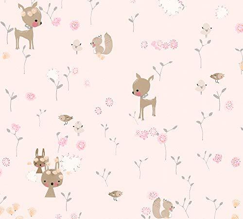 A.S. Création Papiertapete Boys & Girls 6 Tapete mit niedlichen Tieren 10,05 m x 0,53 m braun grün rosa Made in Germany 369883 36988-3