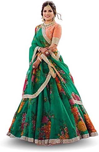 Zeel Clothing Women's Organza Semi-stitched Lehenga Choli