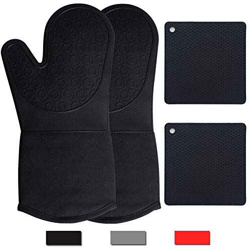 JRwxc Long Oven Mitts and Pot Holders Sets Heat Resistant Gloves Safe Trivet Mats for Chiminea Fire Pits Outdoor Fireplace