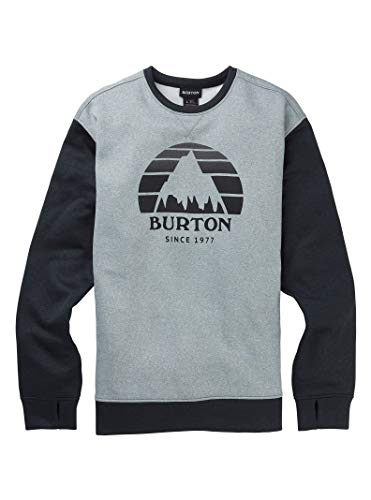 Burton Men's Oak Crew Sweatshirt, Gray Heather/True Black Heather, Small
